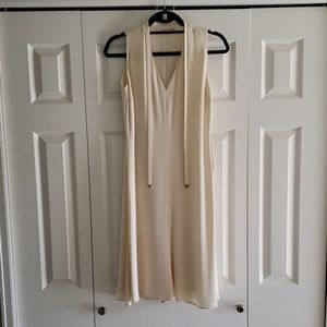 Valentino Ivory Shift Dress w Tie Neck Accent 42